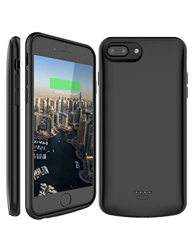 iPhone 8 Plus / 7 Plus Battery Case, Slim 5500mAh Portable Rechargeable Best Case Charger, Compatible with Apple Headphones by RefreshPower (Black, 5.5 inch)