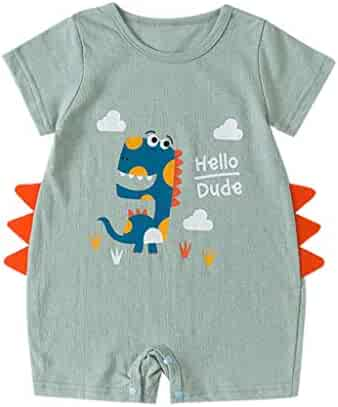 ba753bc9b57b Baby Summer Cartoon Shirt Romper - GorNorriss Baby Dinosaur Cartoon Infant  Summer Outfits Clothes