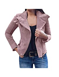 VEZAD Store Trendy Biker Motorcycle Jacket Women Leather Zipper Slim Coat Punk Outerwear
