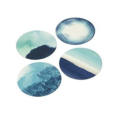 Talking Tables Coastal 4 Designs Card Coasters (12 Pack), Multicolor