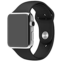 Apple Watch Band Series 1 Series 2 - FanTEK Soft Silicone Sport Style Replacement iWatch Strap for Apple Wrist Watch 38mm Models S/M Size (Black)