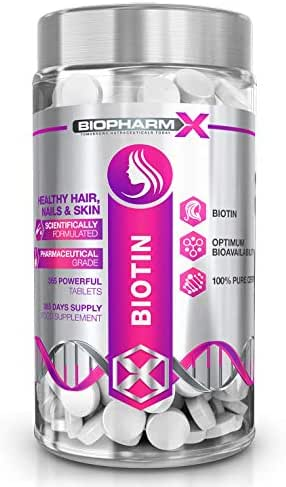 Biotin Hair Growth Supplement (10,000mcg – 365 Tablets / 1 Year Supply) 100% Pure Certified