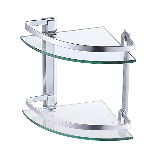 KES Aluminum Glass Shelf Bathroom Bath Corner Caddy Basket Storage Hanging Organizer with Extra Thick TEMPERED Glass Contemporary Style Wall Mount 2-Tier, A4120B