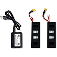 TIME4DEAL MJX Bugs 3 2pcs 7.4v 1800mah Battery + 2 To 1 Charger for B3 Rc Quadcopter Drone Accessories.