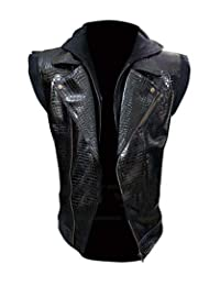 WWE Crocodile AJ Styles Black Leather Vest Jacket for Men Black Biker Motorcycle