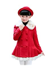 Drasawee Girls Fit Wool Princess Style Fluffy Collar Lace Trim Coat Outerwear