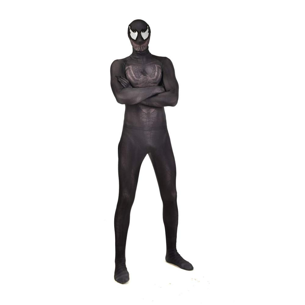 KYOKIM nero Spiderman Costume Cosplay Halloween Masquerade Fancy Dress Party Props Tuta 3D Stampa Spandex Tuta Bambino Adulto,Adult-L