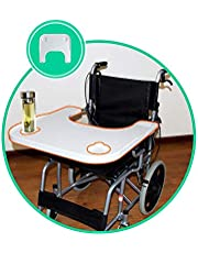Wheelchair Lap Tray - Plastic Thickening Wheelchair Table 2 Cup Holder Removable Portable Desk Accessories for Eating Reading Resting