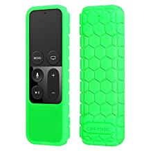 Fintie Protective Case for Apple TV (4th Gen) Remote - Casebot [Honey Comb Series] Light Weight [Anti Slip] Shock Proof Silicone Cover for Apple TV Siri Remote Controller, Green - Glow in the Dark