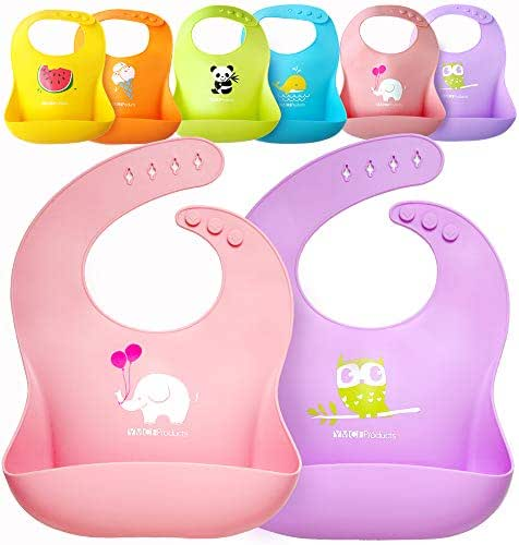 Single or Set of 2 Waterproof Silicone Baby Bib Light Weight Comfortable Easy Wipe Clean