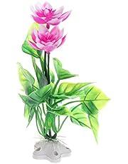 CADANIA 1 Pieza Simulación Lotus Plantas acuáticas Artificiales Adhesivo Acuario de Acuario Flor CT59 - Blanco y púrpura