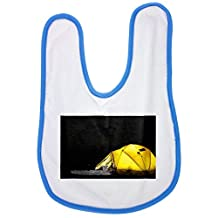 Tent, Camp, Night, Star, Camping baby bib in blue
