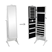 SortWise ® Lockable Floor Standing Wooden Jewelry Cosmetic Mirror Cabinet Chest Armoire Wardrobe Storage Organizer, with Lock & Mirrored Door for Bedroom Home, White