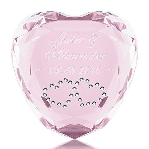 Geschenke 24 Liebesherz (Rosa - Herzen in Weiß) mit Namen & Datum graviert - personalisiertes Liebesgeschenk für sie und ihn – romantischer Diamant aus Kristallglas mit Gravur