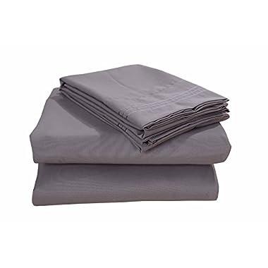 Honeymoon 1800T Brushed Microfiber 4PC Bedding Sheet Set, Sheet & Pillowcase Sets - Queen, Gray