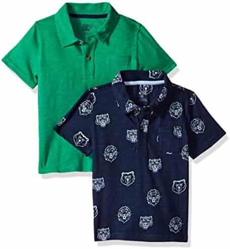 2741e548e Spotted Zebra Boys  2-Pack Slub Jersey Short-Sleeve Polo Shirts