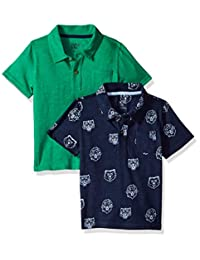 Spotted Zebra boys 2-Pack Slub Jersey Short-Sleeved Polo Shirts Polo Shirt