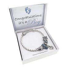 It's A Boy New Mum Leather Charm Bracelet Pandora Style Gift Boxed