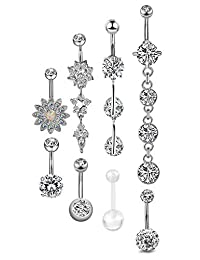 Adramata 16PCS 14G Belly Button Rings Women Dangle Navel Rings Curved Barbell CZ Body Piercing