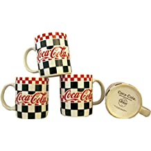 Vintage Gibson Diner Style Coca Cola Mug - Set of 4 - Checkered Graphic