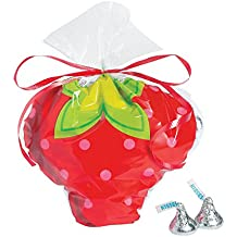 Fun Express Strawberry Cellophane Party Treat Bags, 12 Count