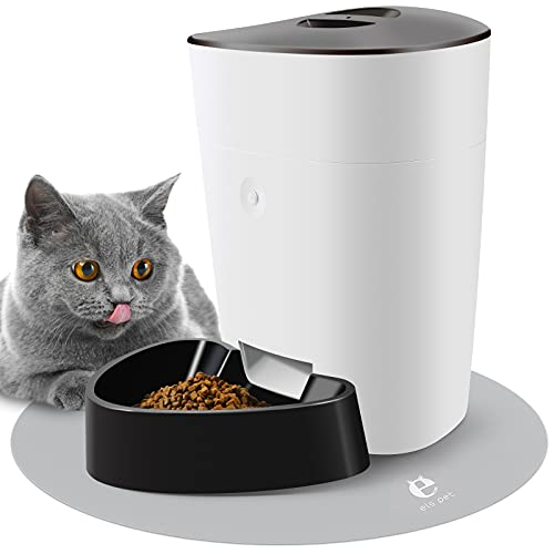Automatic Cat Feeder - Timed Cat Feeder, Timed for 1-8 Meals per Day/10s Voice Recorder/2 Power Supply Modes, Automatic Cat Puppy Feeder, 4L/4.63 lb/12x9.5x12 in