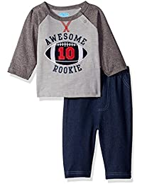 BON BEBE Baby Boys' 2 Piece Long Sleeve Top with Side Snaps and Knit Denim Pant