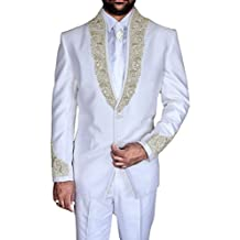 INMONARCH Mens Handsome 5 Pc White Embroidered Tuxedo Suit TX1003