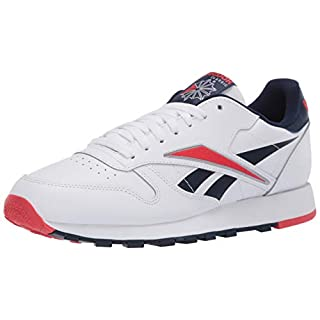 Reebok Men's Classic Leather Sneaker, White/Radiant Red/Collegiate Navy, 9.5 M US