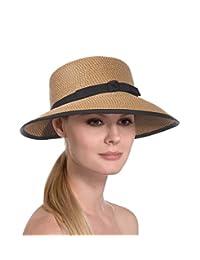 Eric Javits Luxury Fashion Designer Women's Hat - Squishee Cap - Natural/Black