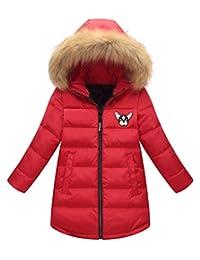 Happy Cherry Girl Winter Warm Fur Hooded Long Down Parka Windproof Snowsuit