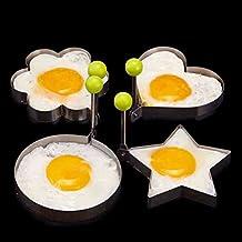 Yosoo Stainless Steel Cooking Oven Poacher Poach Fried Egg Mold Pancake Mold Egg Shaper Pancake Ring Kitchen Tool(4 multi-shape)