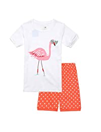 Kasqo Girls Pajamas Sets, Cotton Summer Sleepwear Short Sets Toddler Kids 2 Piece Children Clothes Snug Fit (Unicorn/Flamingo