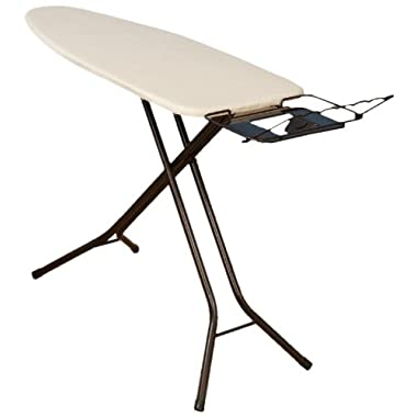 Household Essentials Fibertech Extra Wide Top 4-Leg Ironing Board with Natural Cotton Cover and Iron Holder, Bronze