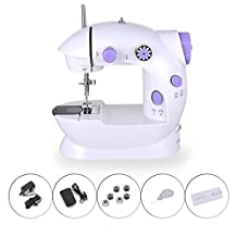 Mini Portable Sewing Machine Double Speed Control Double Thread,Electeic Household Sewing Machine with Foot Pedal