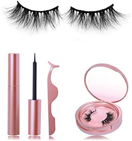 BEEOS 3D Mink Magnetic Eyelashes with Eyeliner Kit, Natural Look No Glue Reusable Magnetic Eye False Lashes and Liquid Magnetic Eyeliner Set with Mirror Tweezers 5-magnet Mink Fake lashes(G04)