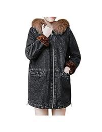 VEZAD Store Winter Long Denim Coat Womens Thicken Warm Fleece Punk Jacket Jean Outerwear
