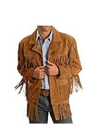 Men's Traditional Cowboy Western Leather Jacket Brown Coat with Fringe Native American Jacket Suede