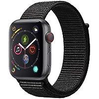 Apple Watch Series 4 (GPS+Cell) Carcasa de aluminio desbloqueada compatible con iPhone 5s y superior (carcasa de aluminio gris espacial con bucle deportivo negro, 1.732in)