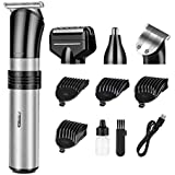Hair Clipper Electric Beard Shaver Nose Ear Hair Trimmer cutter For home use USB rechargeable Washable 3/6/9/12 mm Adjust portable … (light)