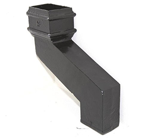Hargreaves Premier 75mm Square Cast Iron Downpipe Offset 115mm Projection Black