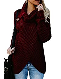 Womens Knitted Pullover Sweater Turtleneck Button Up Asymmetric Cardigan