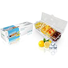 Chilled Condiment Server Caddy Bundle - Get Mint 5 Compartment + 5 Spoon Utensils Set - BPA Free Dishwasher Safe, Durable, Lightweight with Bottom Ice Tray - Keeps Food Fresh, Organized and Cool
