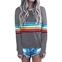 ECOWISH Women's Rainbow Colorful Striped Long Sleeve Crew Neck T Shirt Color Block Casual Blouse Tops