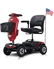 4-Wheel Mobility Scooter, Electric Powered Mobile Wheelchair Device for Adults - Folding, Collapsible and Compact for Travel - Long Range Power Extended Battery