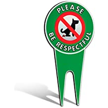 "No Poop Dog Signs | Stop Dogs From Pooping On Your Lawn | Sign Politely Reads: ""Please Be Respectful"""