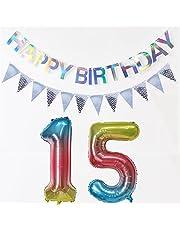 Ballonnen nummer 15 regenboog + Happy Birthday-slinger + wimpelketting banner folieballon 15e verjaardag decoratie meisje jongen 15 jaar verjaardag decoratie meisje