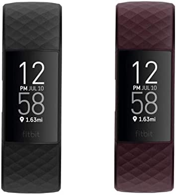 Fitbit Charge 4 Fitness and Activity Tracker with Built-in GPS Yours & Mine Bundle (1-Black Tracker and 1-Rosewood Tracker)