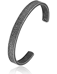 """Unisex """"Knowjedge Js Power"""" Cuff Bangle Stainless Steel Ruler Footprint Bracelet 8.5 Inch"""