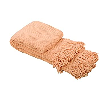 BOON Knitted Tweed Throw Couch Cover Blanket, 50  x 60 , Peach Melba